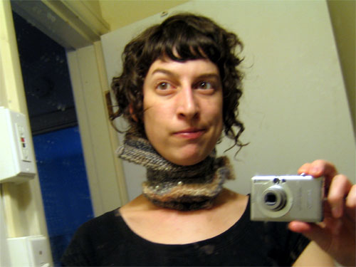 knitted neck brace, dirty mirror, self image
