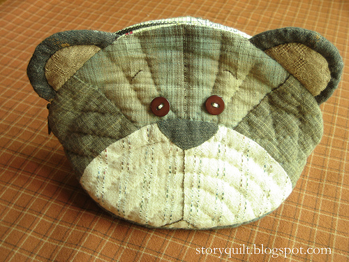Teddy bear patchwork pouch, by Story Quilt on Flickr.